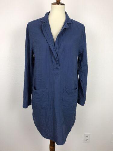 Lou & Grey Women Sz L Shift Dress Blue Cotton Fro… - image 1