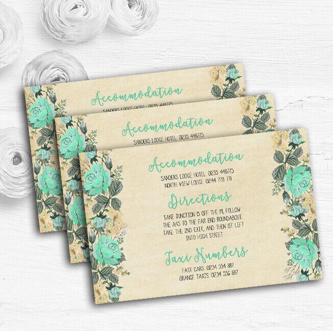 Vintage Mint Grün & Gold Watercolour Wedding Guest Information Cards