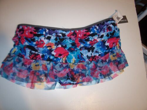 NEW KENNETH COLE REACTION  red blue floral bikini swim skirt bottom Large 10 12