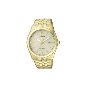 NEW-Citizen-Mens-Gold-Stainless-Steel-Eco-Drive-Watch-100-Meters-Water-Resistant