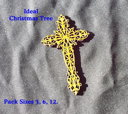 CRUCIFIX Cross Xmas Tree decor//Scrapbook//Card Making//Box Pack Sizes 6-12-25 #03a