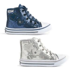 buy online 6059c a3a8b Dettagli su Scarpe Bambina Sneakers Canguro Alte Pailettes C56134 - Argento  o Blu