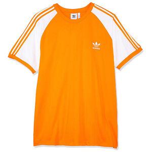Detalles de Adidas Originals 3 Rayas Logo Tee Hombre Trefoil Vintage Camiseta Blanca Naranja