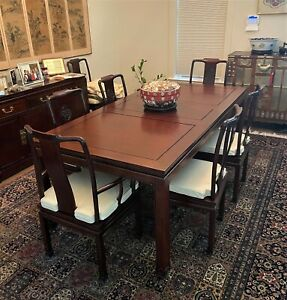 Vintage-George-Zee-Chinese-Rosewood-Dining-Table-amp-Chairs-Leaf-Pads-WE-SHIP