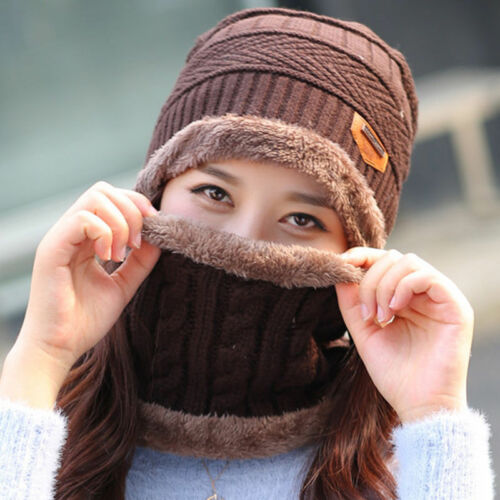 Kids Men Women Winter Hat Scarf Set Warm Crochet Knitted Beanie Fleece Ski Cap