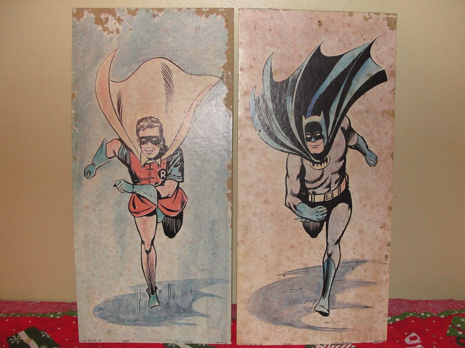 Vintage Batman & Robin Cardboard Cardboard Cardboard Litho Print, Davco Pilgrim, 1966 210908