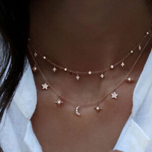 Women-Shining-Double-Layers-Simple-Moon-Sun-Star-Pendant-Necklace-Chain-Choker