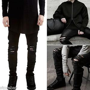 Homme Noir Skinny Jeans coupe slim délavé déchiré destroy trous JEANS PANTALON