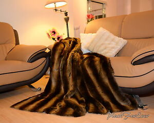 Brown-Chinchilla-Exotic-60-72-84-Blankets-Throws-Comforter-Faux-Fur