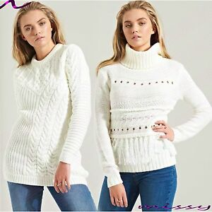 Women-ladies-Crew-Neck-Long-Sleeve-Chunky-Cable-Knitted-Jumper-Sweater-Dress-Top