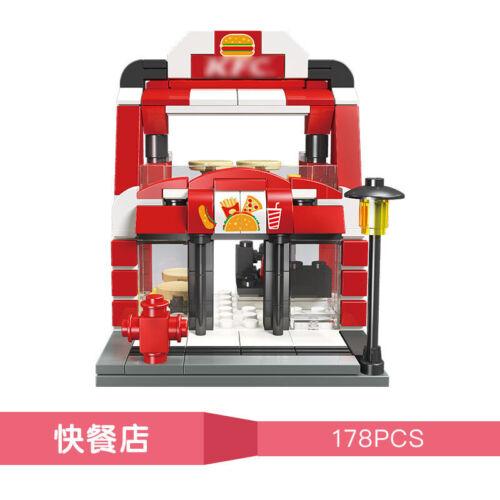 Fast Food Restaurant Town Centre Shops Building Bricks Toy Construction Blocks
