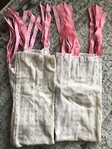 2 Pottery Barn Curtain Panels 44 X 84 Sheet White Pink
