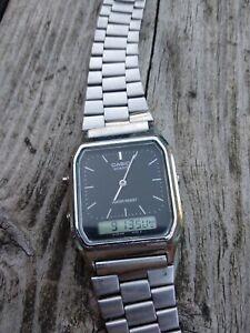Montre Vintage LCD CASIO AQ-230  dual Time  Fonctionne parfaitement