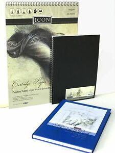 Artist Quality A4 Sketch Book Pad White Paper Black Hardback Spiral Bound