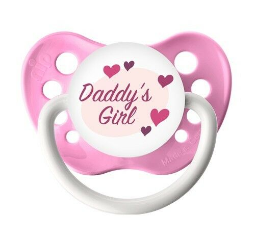 0-6 months and 6-18 months Daddy/'s Girl Pacifier Ulubulu Pink Binky Girl