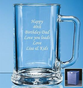 Personalised-Engraved-Beer-Glass-Tankard-Father-039-s-day-Birthday-Best-Man-Gift