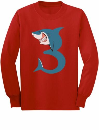 3rd Birthday Shark Party Gift for 3 Year Old Toddler//Kids Long sleeve T-Shirt