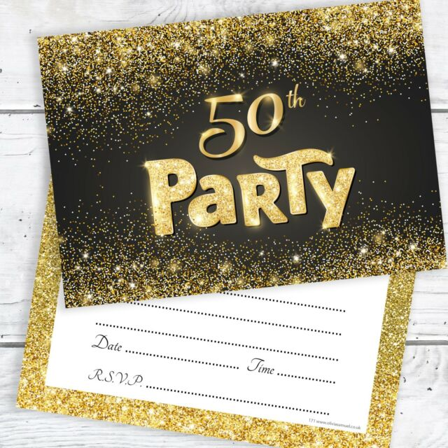 50th Birthday Invitations Black And Gold Glitter Effect With Envelopes Pack 10
