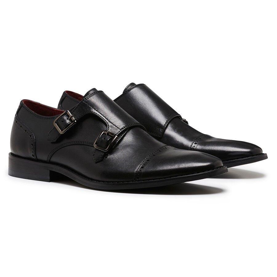 Herren JULIUS MARLOW JOKER MEN'S BLACK LEATHER BUCKLE WORK WORK WORK DRESS FORMAL CLIP Schuhe 4d11e6