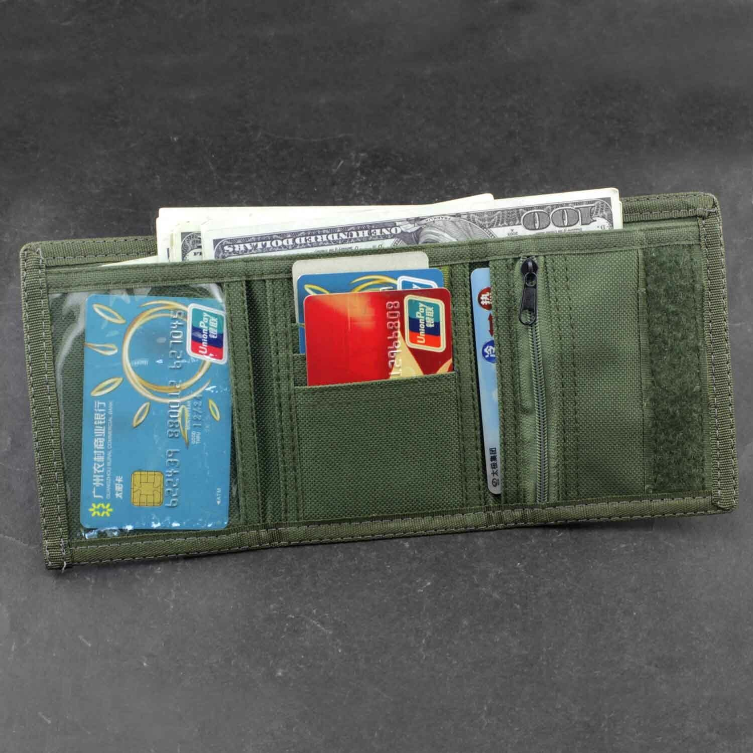 Men/'s Boy/'s Trifold Camouflage wallet Credict Card Purse with safty Chain