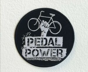 Pedal Power Bicycle Badge Black Embroidered Iron Sew on Patch j1543B