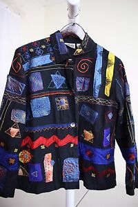 Chico-039-s-Rayon-Blend-Multi-Colored-W-Embroidered-Patches-Button-Down-Jacket-16
