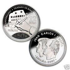 manueduc  12 EUROS  ESPAÑA 2007 50 ANIVERSARIO TRATADO DE ROMA 18,2 Gr PLATA