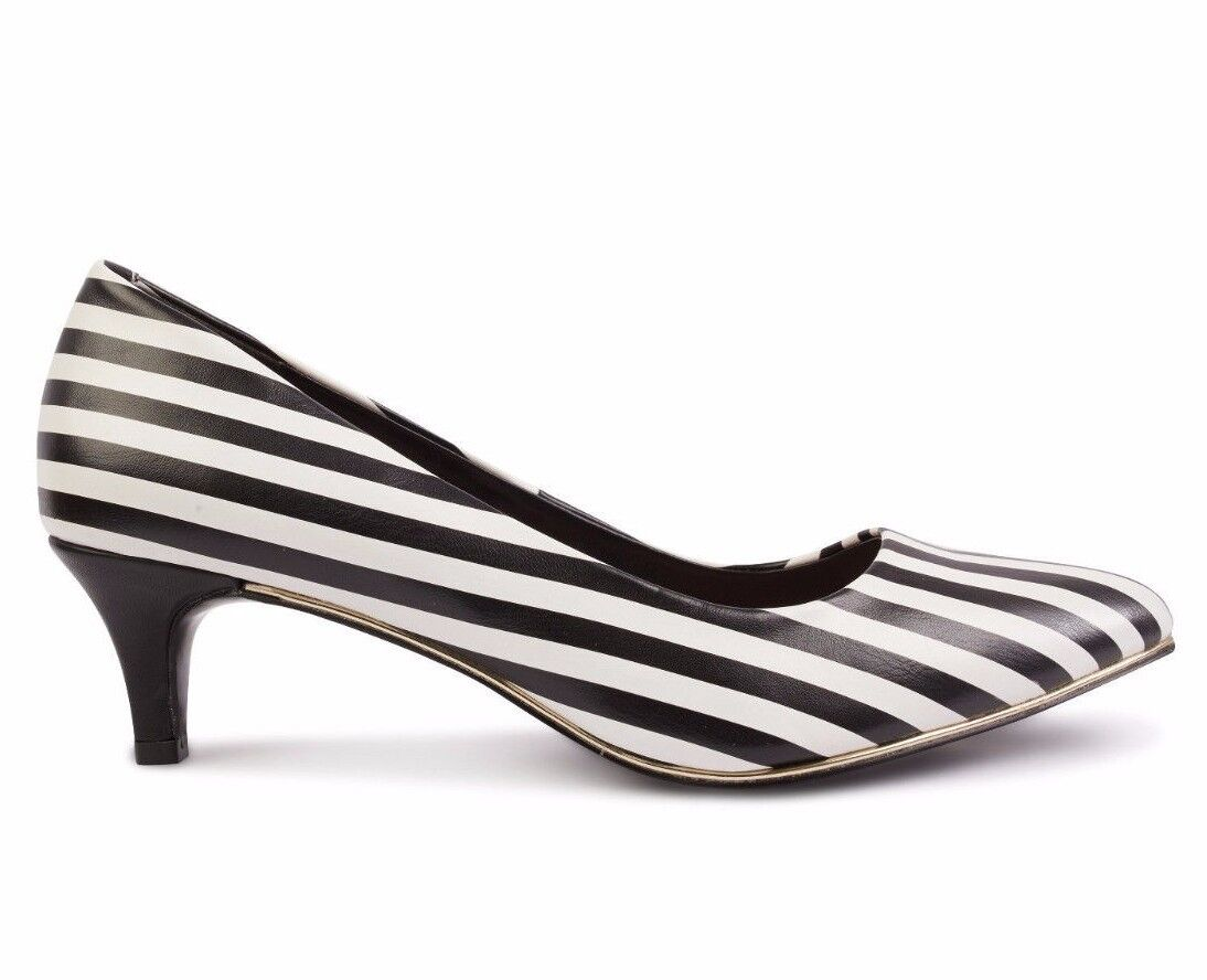 GIRLIE Kitten Heel Court Shoes Striped Black White/ Suede Leather Red/ Black