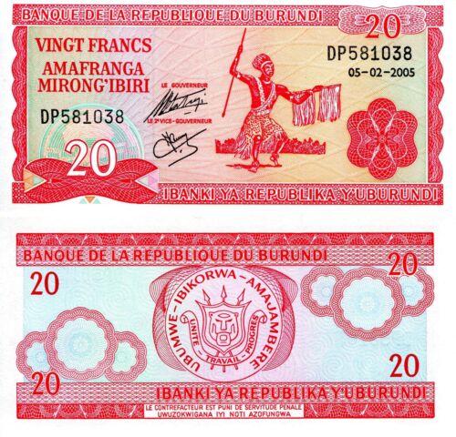 BURUNDI 20 Francs Banknote World Paper Money Currency Pick p27d African Dancer