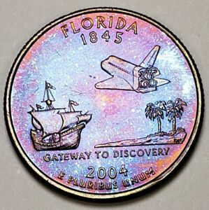 2004-P-CHOICE-BU-FLORIDA-STATE-QUARTER-STUNNING-COLOR-TONED-REVERSE-MUST-HAVE