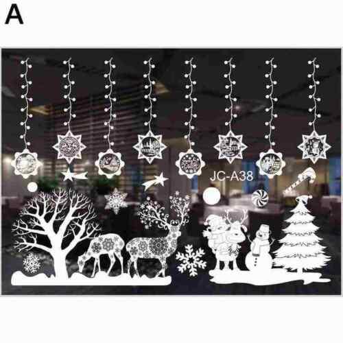 Christmas Window Sticker Happy New Year Christmas Scene Decoration D6G5
