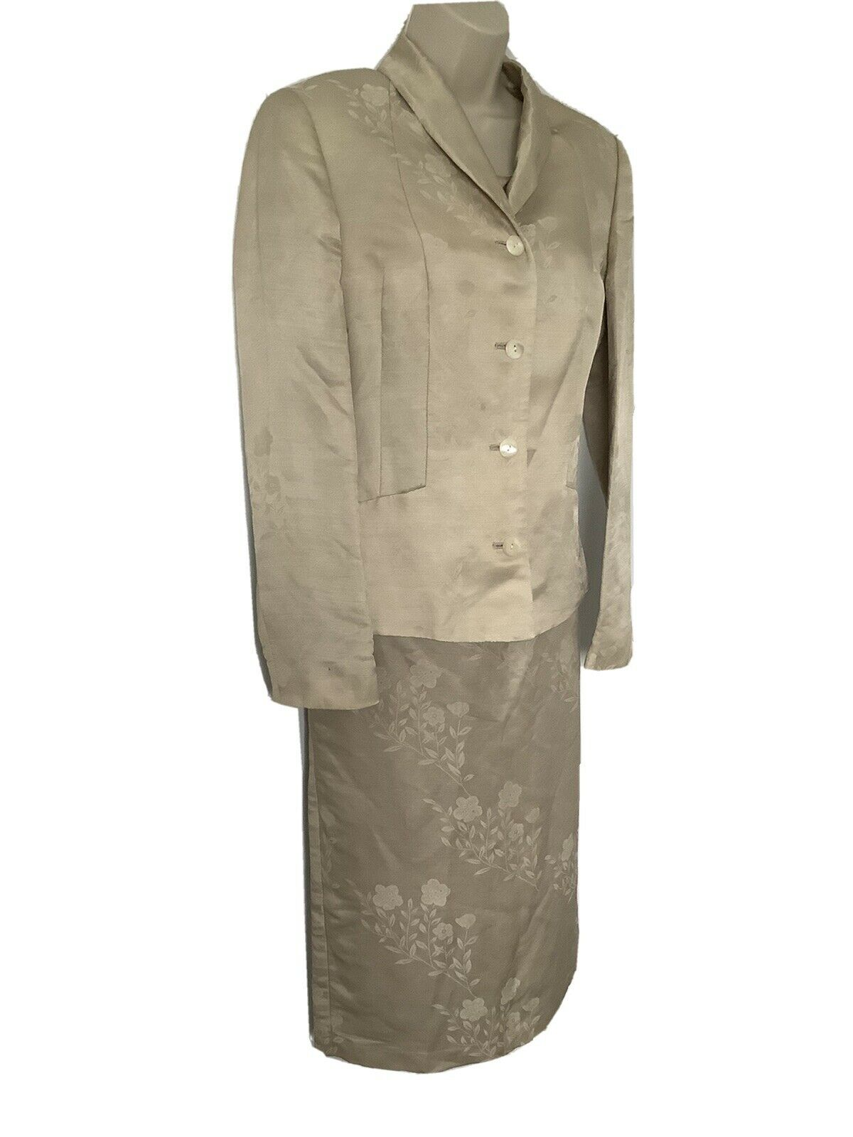 Vintage Laura Ashley Silk Mother Of The Bride Outfit Size 12 Gold Floral