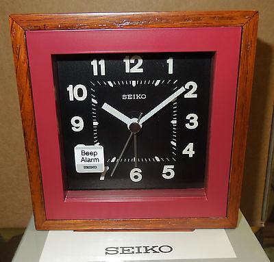 YELLOW WITH WOOD TRIM SQUARE BEEP ALARM CLOCK QXE047YLH SEIKO