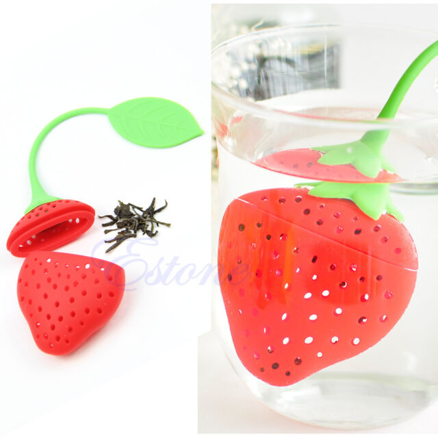 Silicone Strawberry Shape Red Tea Leaf Strainer Tea Filter Herbal Spice Infuser