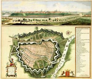 Reproduction Antique Old Map City of Gdansk Poland Danzig City Plan