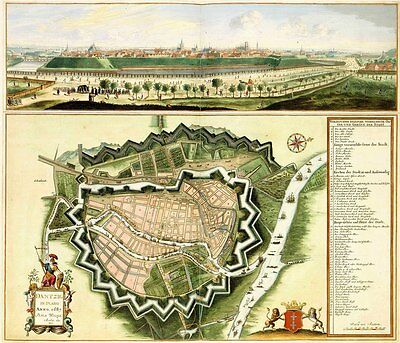 Reproduction Antique Map Plan Print City of Amsterdam Netherlands by F de Wit