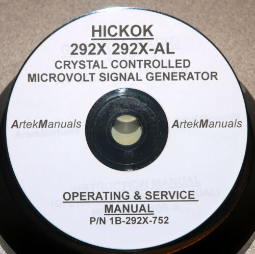 Hickok Manual Service Schematics for 292X Xtal Controlled Generator Operating