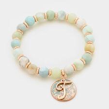 Monogram Bracelet Initial Charm Stretch NATURAL Bead Stone Letter T Script ROSE