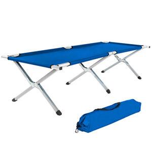 Lettino letto brandina da campeggio XL camping pieghevole + borsa blu nuovo
