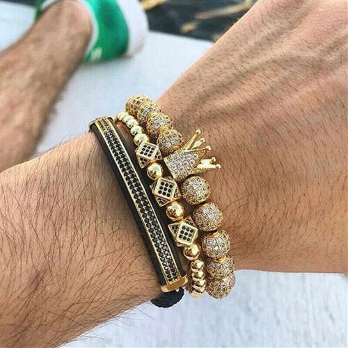 Fashion Luxe Hommes Zircone Cubique Boules Couronne Tressé Bracelets Réglable