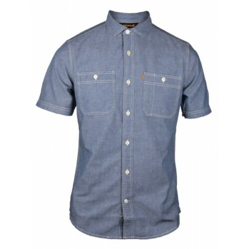 CAT Lifestyle FUNDAMENTAL Mens Smart Casual Short Sleeve Button Down Shirt Blue