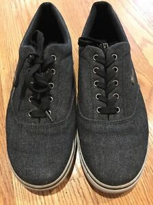 LUGZ Charcoal Black Canvas Walking Sneakers Loafers Oxfords Shoes Mens Sz 9.5 #