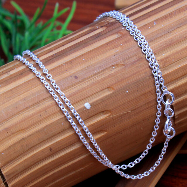 Solid Designer Link Unisex chain Silver necklace 925 Sterling Silver Jewelry 18