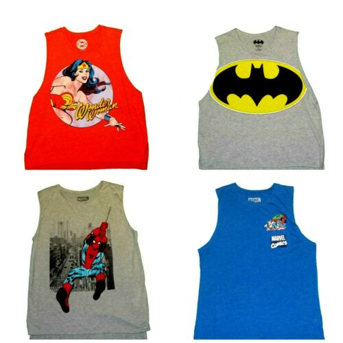 Details about  /Marvel Comics Wonder Woman Batman Spiderman Junior Muscle Tank Tops NWT