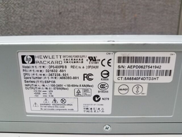 HP DPS-600PB B 406393-001 321632-501 575W Server Hot Swap Power Supply
