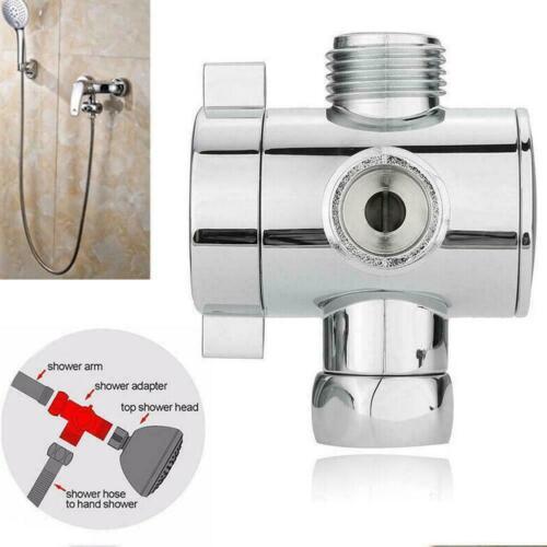 "3 Way Bathroom Chrome Diverter G1//2/"" T-adapter Valve Arm For Shower Mounted D3V1"