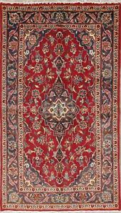 Vintage Floral Oriental Area Rug Wool Traditional Hand-Knotted 3 x 6 RED Carpet