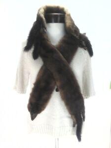 FOX-Fur-Wrap-4-Pelts-Whole-Body-VINTAGE-Shawl-Collar-Shrug-Brown-Scarf-Retro-50s