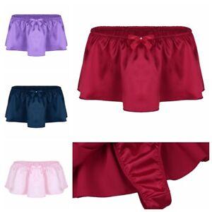 Sissy-Briefs-Bikini-Mens-Lingerie-Satin-Skirted-G-string-Thong-Underwear-Panties