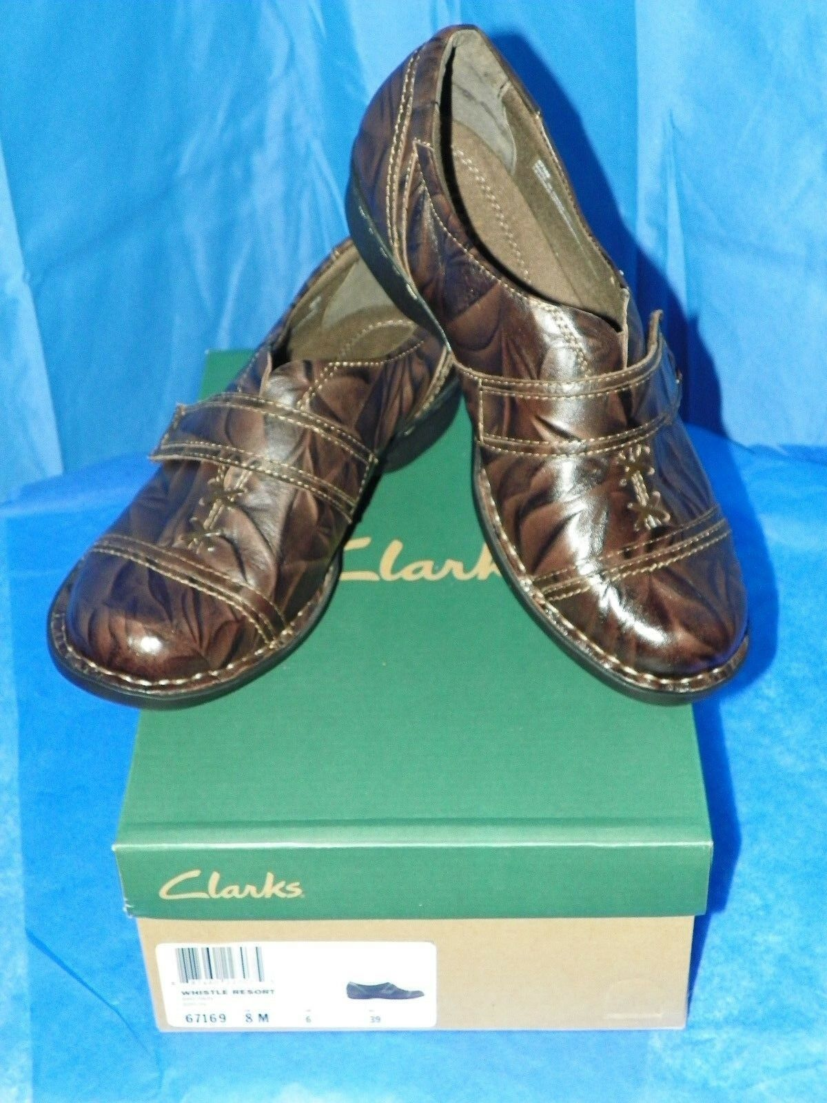 CLARKS donna BENDABLES WHISTLE RESORT Marroneee LEATHER Dimensione 8M